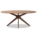 Baxton Studio Monte Mid-Century Modern Walnut Brown Finished Wood 71-Inch Oval Dining Table - Monte-Walnut-Oval-DT