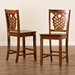 Baxton Studio Gervais Modern and Contemporary Transitional Walnut Brown Finished Wood 2-Piece Counter Stool Set - RH339P-Walnut Scoop Seat-PC