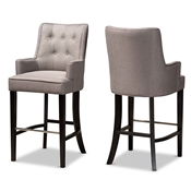 Baxton Studio Aldon Modern and Contemporary Grey Fabric Upholstered and Dark Brown Finished Wood 2-Piece Bar Stool Set