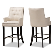 Baxton Studio Aldon Modern and Contemporary Light Beige Fabric Upholstered and Dark Brown Finished Wood 2-Piece Bar Stool Set