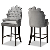 Baxton Studio Chloe Modern and Contemporary Dark Grey Velvet Upholstered and Dark Brown Finished Wood 2-Piece Bar Stool Set