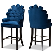 Baxton Studio Chloe Modern and Contemporary Navy Blue Velvet Upholstered and Dark Brown Finished Wood 2-Piece Bar Stool Set