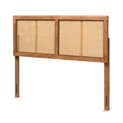 Baxton Studio Gilbert Mid-Century Modern Ash Walnut Finished Wood and Synthetic Rattan Queen Size Headboard