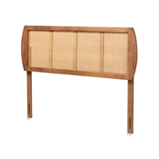 Baxton Studio Harris Mid-Century Modern Ash Walnut Finished Wood and Synthetic Rattan Queen Size Headboard