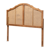 Baxton Studio Iris Vintage Classic and Traditional Ash Walnut Finished Wood and Synthetic Rattan Queen Size Arched Headboard