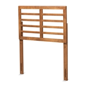 Baxton Studio Salome Mid-Century Modern Walnut Brown Finished Wood Twin Size Open Slat Headboard