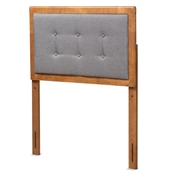 Baxton Studio Sarine Mid-Century Modern Dark Grey Fabric Upholstered and Walnut Brown Finished Wood Twin Size Headboard