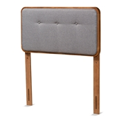 Baxton Studio Palina Mid-Century Modern Dark Grey Fabric Upholstered and Walnut Brown Finished Wood Twin Size Headboard