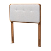 Baxton Studio Palina Mid-Century Modern Light Grey Fabric Upholstered and Walnut Brown Finished Wood Twin Size Headboard