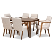 Baxton Studio Glenda Mid-Century Modern Beige Fabric Upholstered and Walnut Brown Finished Wood 7-Piece Dining Set