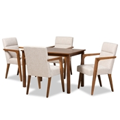 Baxton Studio Glenda Mid-Century Modern Beige Fabric Upholstered and Walnut Brown Finished Wood 5-Piece Dining Set