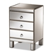 Baxton Studio Ewan Contemporary Glam and Luxe Mirrored 3-Drawer Nightstand