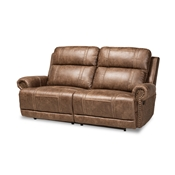 Baxton Studio Buckley Modern and Contemporary Light Brown Faux Leather Upholstered 2-Seater Reclining Sofa