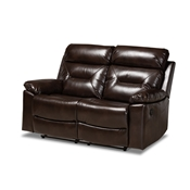 Baxton Studio Byron Modern and Contemporary Dark Brown Faux Leather Upholstered 2-Seater Reclining Loveseat