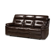 Baxton Studio Byron Modern and Contemporary Dark Brown Faux Leather Upholstered 3-Seater Reclining Sofa