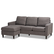 Baxton Studio Miles Modern and Contemporary Grey Fabric Upholstered Sectional Sofa with Left Facing Chaise