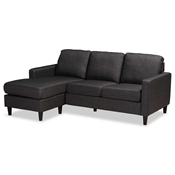 Baxton Studio Miles Modern and Contemporary Charcoal Fabric Upholstered Sectional Sofa with Left Facing Chaise