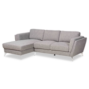 Baxton Studio Mirian Modern and Contemporary Grey Fabric Upholstered Sectional Sofa with Left Facing Chaise