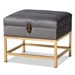 Baxton Studio Aliana Glam and Luxe Grey Velvet Fabric Upholstered and Gold Finished Metal Small Storage Ottoman