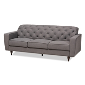 Baxton Studio Farley Modern and Contemporary Transitional Grey Fabric Upholstered and Dark Brown Finished Wood Sofa