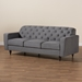 Baxton Studio Farley Modern and Contemporary Transitional Grey Fabric Upholstered and Dark Brown Finished Wood Sofa - RDS-S0016-3S-Grey/Wenge-SF
