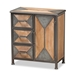 Baxton Studio Laurel Rustic Industrial Antique Grey Finished Metal and Whitewashed Oak Brown Finished Wood 3-Drawer Accent Storage Cabinet