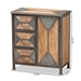 Baxton Studio Laurel Rustic Industrial Antique Grey Finished Metal and Whitewashed Oak Brown Finished Wood 3-Drawer Accent Storage Cabinet - AM19136-Oak/Grey-Cabinet