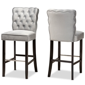 Baxton Studio Daphne Modern and Contemporary Dark Grey Velvet Fabric Upholstered and Dark Brown Finished Wood 2-Piece Bar Stool Set Baxton Studio restaurant furniture, hotel furniture, commercial furniture, wholesale bar furniture, wholesale bar stools, classic bar stools