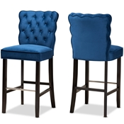 Baxton Studio Daphne Modern and Contemporary Navy Blue Velvet Fabric Upholstered and Dark Brown Finished Wood 2-Piece Bar Stool Set Baxton Studio restaurant furniture, hotel furniture, commercial furniture, wholesale bar furniture, wholesale bar stools, classic bar stools