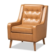 Baxton Studio Daley Modern and Contemporary Tan Faux Leather Upholstered and Walnut Brown Finished Wood Lounge Armchair Baxton Studio restaurant furniture, hotel furniture, commercial furniture, wholesale living room furniture, wholesale accent chairs, classic accent chairs