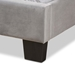 Baxton Studio Benjen Modern and Contemporary Glam Grey Velvet Fabric Upholstered Twin Size Panel Bed - CF9210C-Grey Velvet-Twin