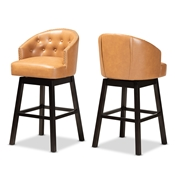 Baxton Studio Theron Modern and Contemporary Transitional Tan Faux Leather Upholstered and Dark Brown Finished Wood 2-Piece Swivel Bar Stool Set Baxton Studio restaurant furniture, hotel furniture, commercial furniture, wholesale bar furniture, wholesale bar stools, classic bar stools