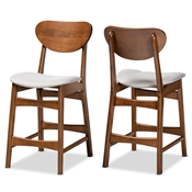 Baxton Studio Katya Mid-Century Modern Grey Fabric Upholstered and Walnut Brown Finished Wood 2-Piece Counter Stool Set Baxton Studio restaurant furniture, hotel furniture, commercial furniture, wholesale bar furniture, wholesale counter stools, classic counter stools