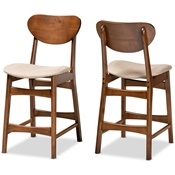 Baxton Studio Katya Mid-Century Modern Sand Fabric Upholstered and Walnut Brown Finished Wood 2-Piece Counter Stool Set Baxton Studio restaurant furniture, hotel furniture, commercial furniture, wholesale bar furniture, wholesale counter stools, classic counter stools