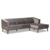 Baxton Studio Morton Mid-Century Modern Contemporary Grey Velvet Fabric Upholstered and Dark Brown Finished Wood Sectional Sofa with Right Facing Chaise Baxton Studio restaurant furniture, hotel furniture, commercial furniture, wholesale living room furniture, wholesale sectional sofa, classic sectional sofa