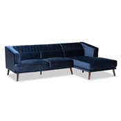 Baxton Studio Morton Mid-Century Modern Contemporary Navy Blue Velvet Fabric Upholstered and Dark Brown Finished Wood Sectional Sofa with Right Facing Chaise Baxton Studio restaurant furniture, hotel furniture, commercial furniture, wholesale living room furniture, wholesale sectional sofa, classic sectional sofa