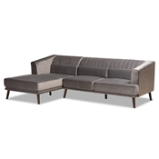 Baxton Studio Morton Mid-Century Modern Contemporary Grey Velvet Fabric Upholstered and Dark Brown Finished Wood Sectional Sofa with Left Facing Chaise Baxton Studio restaurant furniture, hotel furniture, commercial furniture, wholesale living room furniture, wholesale sectional sofa, classic sectional sofa