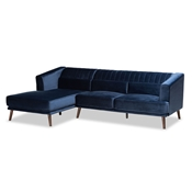 Baxton Studio Morton Mid-Century Modern Contemporary Navy Blue Velvet Fabric Upholstered and Dark Brown Finished Wood Sectional Sofa with Left Facing Chaise Baxton Studio restaurant furniture, hotel furniture, commercial furniture, wholesale living room furniture, wholesale sectional sofa, classic sectional sofa