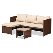 Baxton Studio Carlton Modern and Contemporary Sand Fabric Upholstered and Brown Finished Woven PE Rattan 3-Piece Outdoor Patio Lounge Set Baxton Studio restaurant furniture, hotel furniture, commercial furniture, wholesale outdoor furniture, wholesale patio furniture