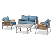 Baxton Studio Nicholson Modern and Contemporary Blue Fabric Upholstered and Grey Finished Metal with Brown Finished PE Rattan 4-Piece Outdoor Patio Lounge Set Baxton Studio restaurant furniture, hotel furniture, commercial furniture, wholesale outdoor furniture, wholesale patio furniture