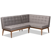 Baxton Studio Sanford Mid-Century Modern Grey Fabric Upholstered and Walnut Brown Finished Wood 2-Piece Dining Nook Banquette Set