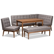 Baxton Studio Sanford Mid-Century Modern Grey Fabric Upholstered and Walnut Brown Finished Wood 5-Piece Dining Nook Set