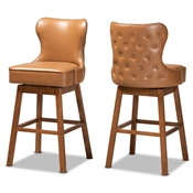 Baxton Studio Gradisca Modern and Contemporary Tan Faux Leather Upholstered and Walnut Brown Finished Wood 2-Piece Swivel Bar Stool Set