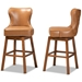 Baxton Studio Gradisca Modern and Contemporary Tan Faux Leather Upholstered and Walnut Brown Finished Wood 2-Piece Swivel Bar Stool Set - BBT5246B-Tan/Walnut-BS