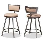 Baxton Studio Danson Modern Industrial Light Brown Fabric Upholstered and Antique Grey Finished Metal 2-Piece Swivel Pub Chair Set