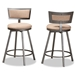 Baxton Studio Danson Modern Industrial Light Brown Fabric Upholstered and Antique Grey Finished Metal 2-Piece Swivel Pub Chair Set - 8740P-Light Brown-PC