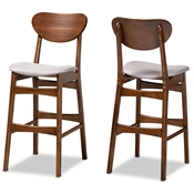 Baxton Studio Katya Mid-Century Modern Grey Fabric Upholstered and Walnut Brown Finished Wood 2-Piece Bar Stool Set