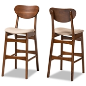 Baxton Studio Katya Mid-Century Modern Sand Fabric Upholstered and Walnut Brown Finished Wood 2-Piece Bar Stool Set