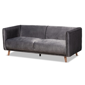 Baxton Studio Beacher Modern and Contemporary Grey Velvet Fabric Upholstered and Walnut Brown Finished Wood Sofa