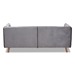 Baxton Studio Beacher Modern and Contemporary Grey Velvet Fabric Upholstered and Walnut Brown Finished Wood Sofa - RDS-S0020-3S-Grey Velvet/Walnut-SF